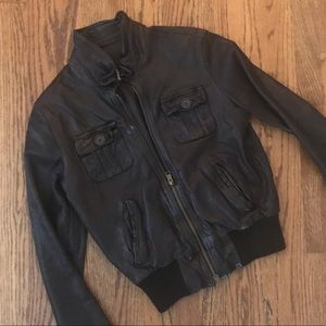 H & M  L.O.G.G.brown Leather bomber jacket XS